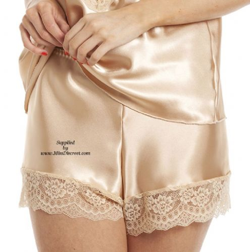 Elegant Gold Satin & Lace Traditional French Cami Knickers - Sizes From UK 10 to UK 28